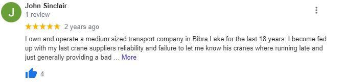 Good crane hire testimonials Perth