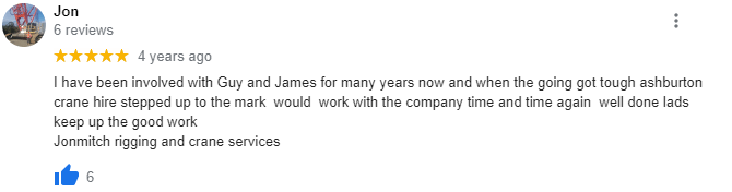 Good crane hire review Perth