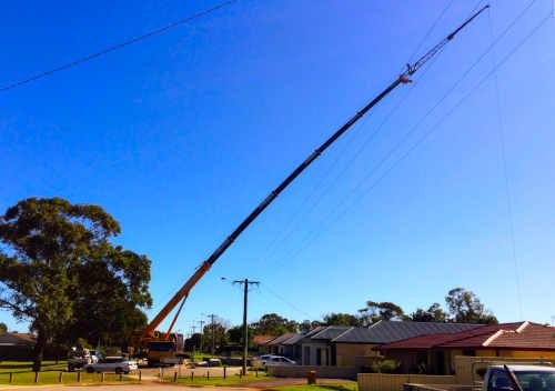 Long reach crane hire Perth WA.