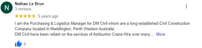Good crane hire reviews Perth
