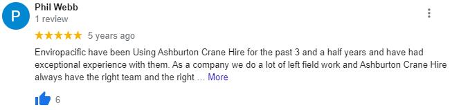 Good crane hire testimonial Perth